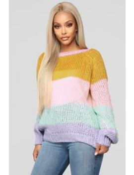 Jazmin Colorblock Sweater   Lavender/Combo by Fashion Nova
