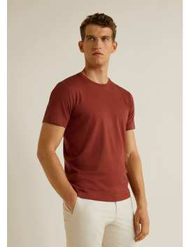 Rounded Neck Cotton T Shirt by Mango