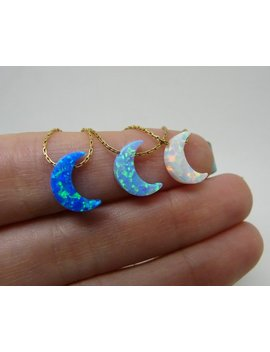 Opal Moon Necklace, Moon Necklace, Crescent Moon Necklace, Crescent Necklace, Moon Pendant, Half Moon, Opal Jewellery by Etsy