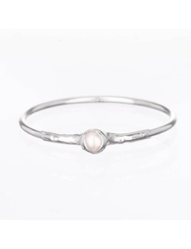 White Pearl Stacking Rings, Sterling Silver Ring, Pearl Engagement Ring, Dainty Ring, Delicate Ring, Thumb Ring, Pinky Ring, Thin Ring by Etsy