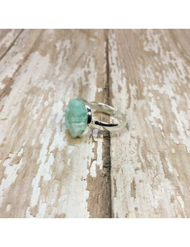 Raw Amazonite Ring Silver Plated Adjustable Raw Stone Ring Amazonite Silver Plated Ring Stone Ring Aqua Ring Raw Stone Ring Gifts For Her by Etsy