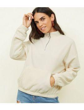 Cream Zip Neck Fleece Sweatshirt by New Look