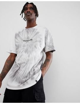 Huf Tie Dye T Shirt With Logo In White by Huf