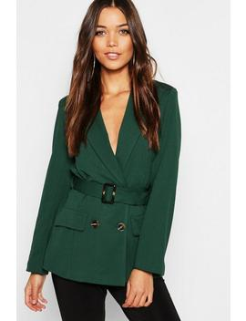 Belted Double Breasted Blazer by Boohoo