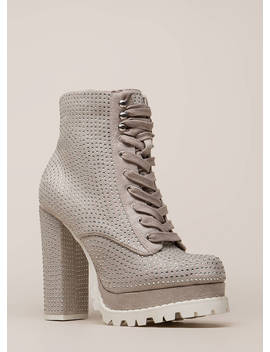 Lug Love Rhinestone Platform Booties by Go Jane