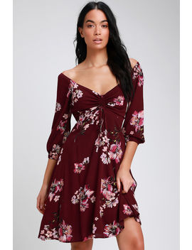 Ardleigh Burgundy Floral Print Off The Shoulder Dress by Lulus