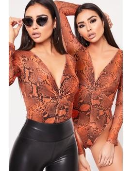 Cindy Orange Snake Print Twist Front Mesh Bodysuit by Misspap