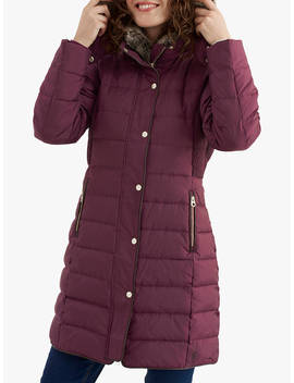 Joules Caldecott Long Line Padded Coat, Burgundy by Joules