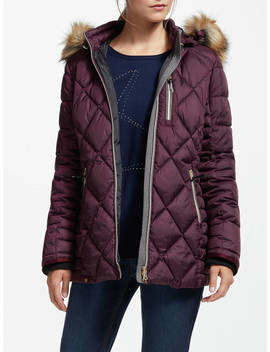 Gerry Weber Hooded Quilted Jacket, Mauve Wine by Gerry Weber