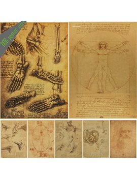 Leonardo Da Vinci Manuscript   Vitruvian Man Posters Nostalgic Retro Decorative Painting Core Kraft Paper Vintage Poster by Lanxihaibao