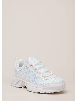 Sparkle On Glittery Platform Sneakers by Go Jane