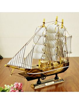 24cm Wooden Ship Craft Sailing Boat Wood Sailboat Model Nautical Pure Manual Decoration Home Decor Sailboat Sailing Ship by Strongwell
