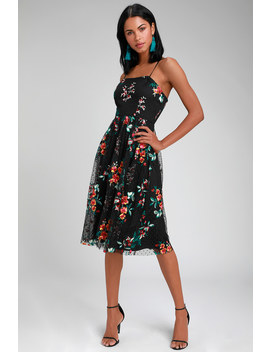 Down To Party Black Floral Embroidered Midi Dress by Lulus