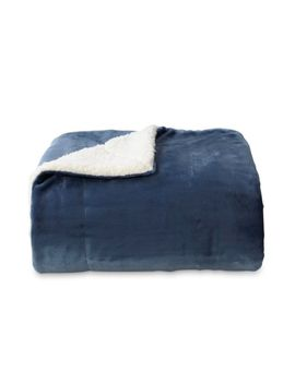 Cannon Plush To Sherpa Throw Extra Soft And Cozy Blue 50 X 60 Inches by Cannon