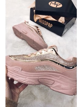 Mary Champagne Chunky Trainers by Misspap