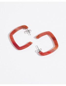 Coral Resin Square Hoop Earrings by Jigsaw