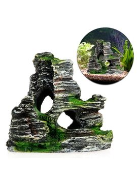 New 1 Pc Mountain View Aquarium Decoration Moss Tree House Resin Cave Fish Tank Ornament Decor Landscap Decorative by Ootdty