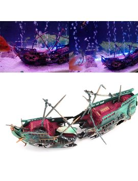 24*12cm Large Aquarium Decoration Boat Plactic Aquarium Ship Air Split Shipwreck Fish Tank Decor Wreck Sunk by Vktech