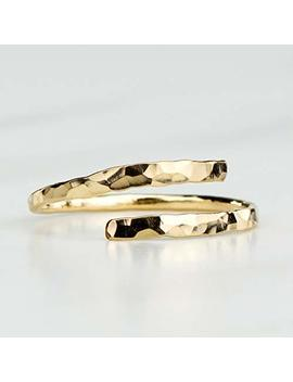 Hammered Bypass Ring – Adjustable 14 K Gold Fill Band For Your Midi, Knuckle Or Thumb by Amazon