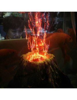 Aquarium Air Drive Led Decoration Resin Volcano Fish Tank Ornament Volcano Eruption In Water by Pupuzao