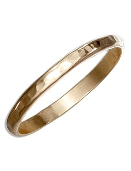 12 Karat Gold Filled 2mm Hammered Wedding Band Ring by 100 Silver