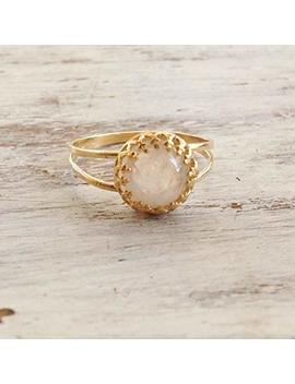 Custom Moonstone Ring Gemstone Ring Rainbow Moonstone Jewelry Gold Filled Ring by Amazon