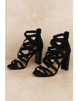 Morrie Black Strappy Heels by Tobi