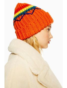 Embroidered Retro Beanie by Topshop