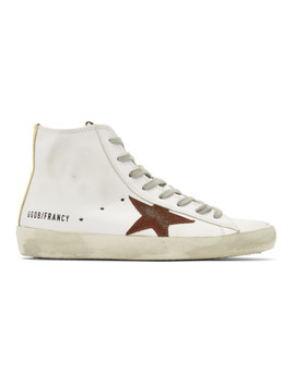 White & Purple Francy High Top Sneakers by Golden Goose