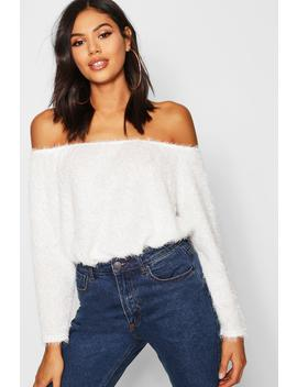 Fluffy Knit Off The Shoulder Oversized Jumper by Boohoo