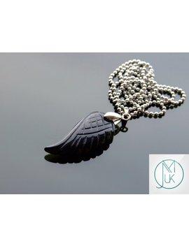 Black Onyx Gemstone Angel Wing Pendant Necklace Natural Chakra Healing Stone Free Uk Shipping by Etsy