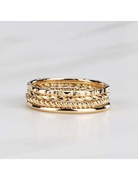 Artisan Stacking Rings, Hammered 14 K Gold Filled Set Of 4 Custom Made Stackable Bands by Amazon