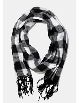 Soft Buffalo Check Scarf  Black by Miss A Scarves
