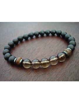 Men's Smoky Quartz Positivity Mala Bracelet // Smoky Quartz & Onyx Mala Bracelet // Yoga, Buddhist, Jewelry, Prayer Beads, Meditation by Etsy