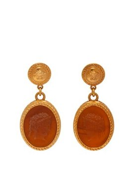 Cameo Gold Tone Brass Dropped Earrings by Versace