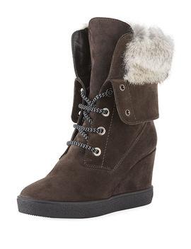 Cordelia High Wedge Boots W/ Fur Trim by Aquatalia