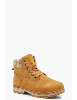 Fleece Collar Chunky Hiker Boots by Boohoo