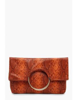 Faux Snake Ring Clutch With Chain by Boohoo