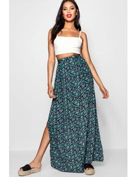 Thigh Split Woven Paisley Maxi Skirt by Boohoo