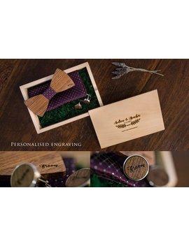 Personalised Engraved Wood Bow Tie Cufflink Cuff Links Wooden Set Box Gift Wedding Groom Groomsmen Bridal Party Rustic Handkerchief by Etsy