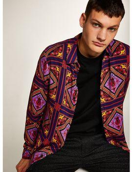 Purple Tile Print Slim Shirt by Topman