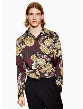 Premium Burgundy Stripe Floral Slim Shirt by Topman