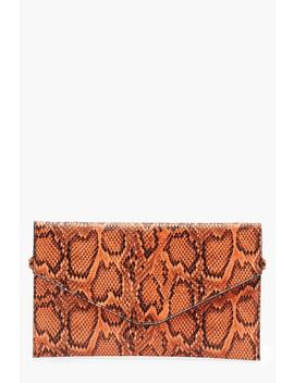 All Over Snake Envelope Clutch by Boohoo