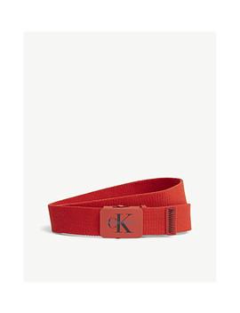 Logo Plaque Canvas Belt by Calvin Klein