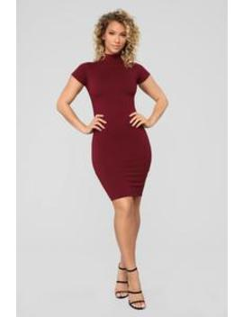 Kara Mock Neck Mini Dress   Burgundy by Fashion Nova