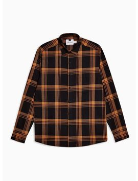 Black And Orange Slim Check Shirt by Topman