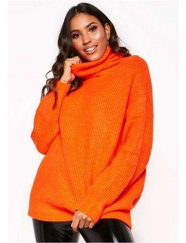 Tamarah Neon Orange Roll Neck Oversized Knit Jumper by Missy Empire