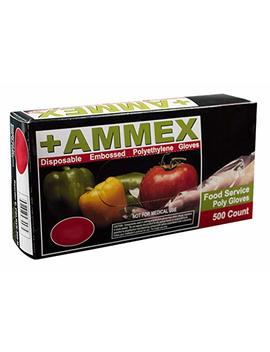 Ammex Pglove 500 Food Service Poly Gloves, Latex Free, Disposable, 1 Mil Thickness, Powder Free, Medium, Pglove M 500 Bx (Box Of 500) by Amazon