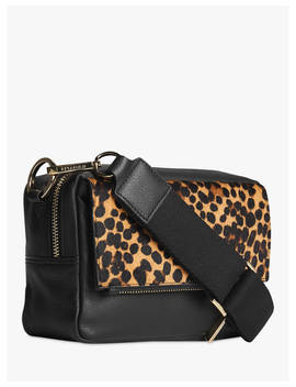Whistles Bibi Leather Leopard Print Cross Body Bag, Black/Multi by Whistles