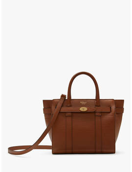 Mulberry Mini Bayswater Zipped Grain Veg Tanned Leather Tote Bag, Oak by Mulberry